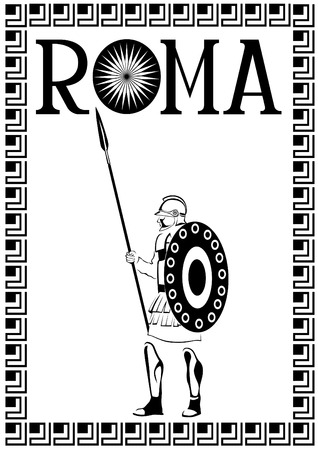 Sketch drawing of an ancient roman warrior