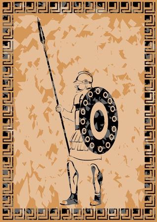 Szkic, rysunek starożytnego rzymskiego wojownika