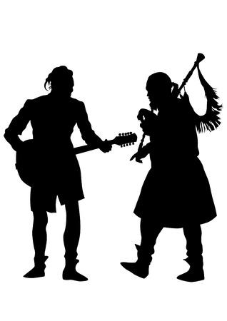 Músicos con instrumentos antiguos sobre fondo blanco.