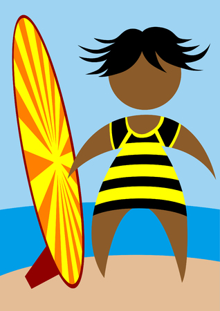 People in swimwear with a surfboard on the background of the sea Vectores