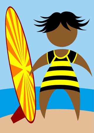 Personas en traje de baño con una tabla de surf en el fondo del mar