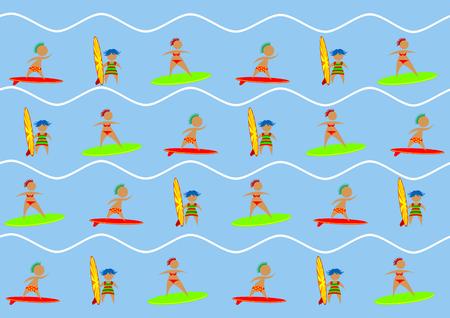 Personas en traje de baño con una tabla de surf en el fondo del mar Ilustración de vector