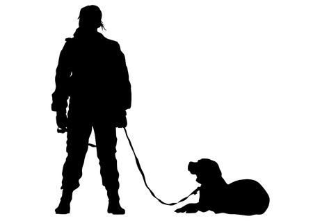 Woman in police uniform whit dog on white background 写真素材 - 123714417