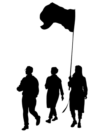 With flags on white background Illustration
