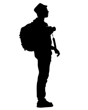 Backpacker on white background
