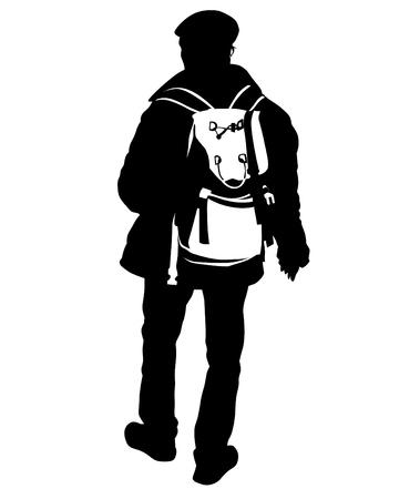Backpacker on white background Imagens - 124559463