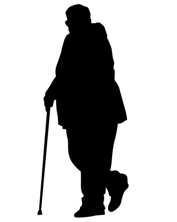 Elderly people walking on white background