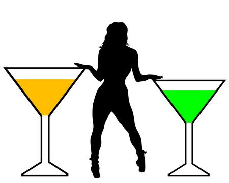 Beautiful girl and martini glass on a white background
