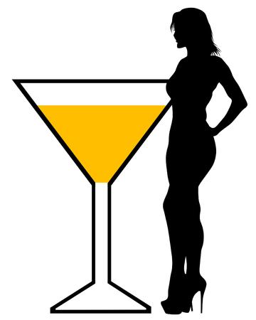Beautiful girl and martini glass on a white background Illusztráció