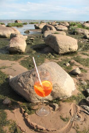 Large glass on the seashore