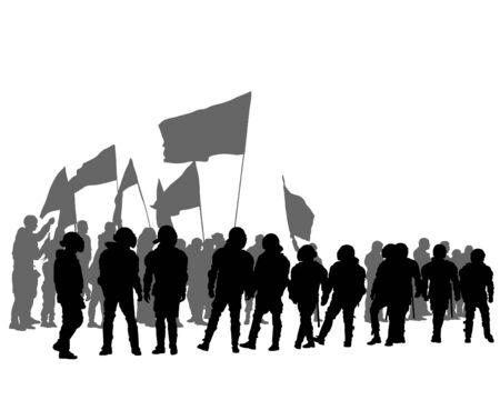 Avec des drapeaux sur fond blanc