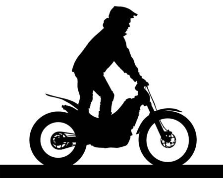 Sport motorcycle and man white background Vetores