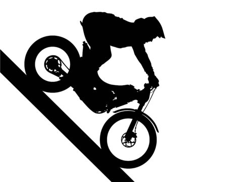 Sport motorcycle and man white background
