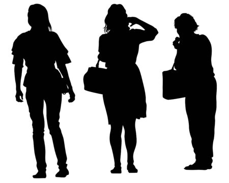 Group of tourists with travel suitcases on a white background