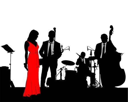Whit jazz band at concert Ilustração