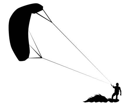 Atleta en una tabla de surf paracaídas sobre un fondo blanco. Ilustración de vector