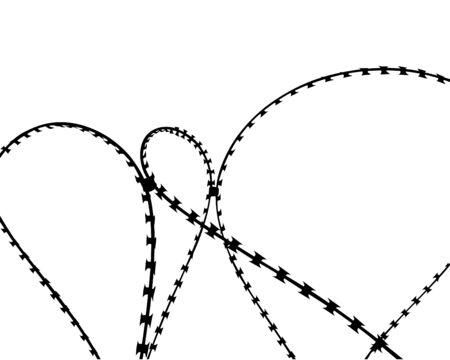 Barbed wire steel fence in the border zone Ilustração