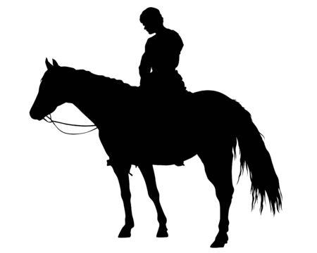 Horseman rides horse on a white background