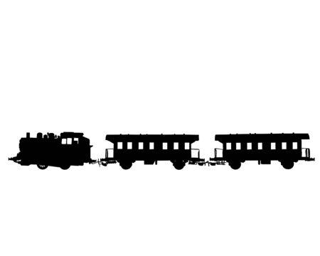 Modello di locomotiva a vapore e autovetture su rotaie su sfondo bianco