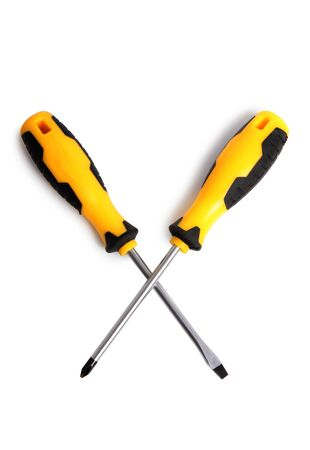 Set of screwdrivers for construction work on a white background