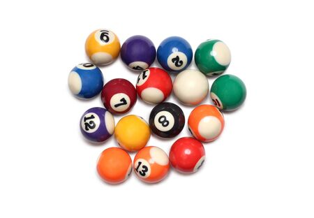 Billiard balls on white background 免版税图像