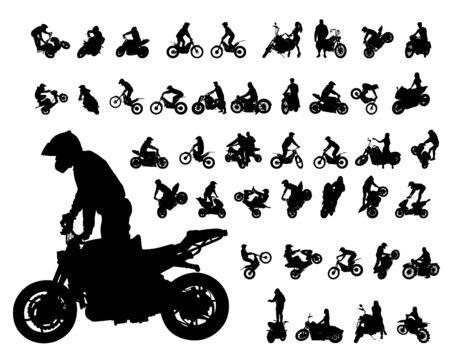 Conjunto de moto y hombre fondo blanco. Ilustración de vector