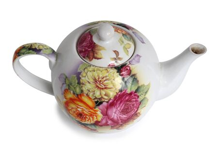 Antique porcelain tableware for tea on a white background Фото со стока
