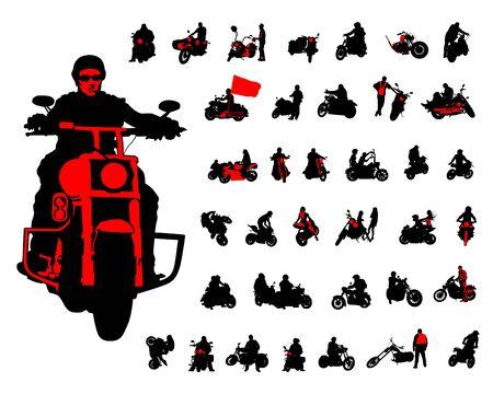 Conjunto de silueta de motocicletas para hombres y mujeres posan. Ilustración de vector