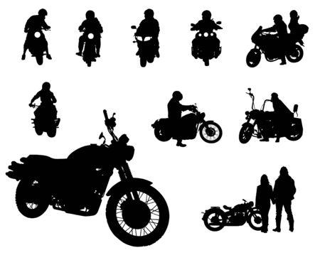 Zestaw motocykla i ludzi na białym tle