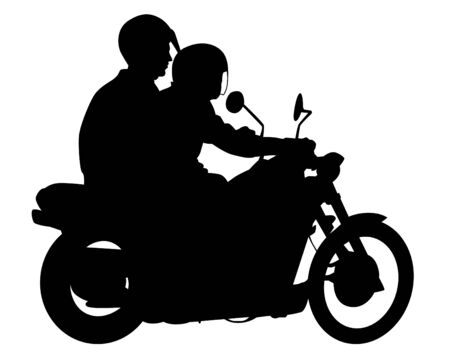 Beauty women and man on bike on white background