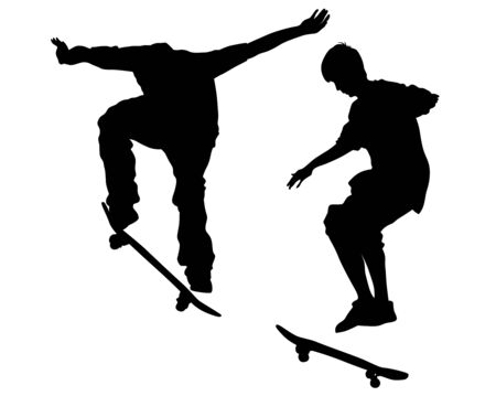 Young athlete on a skateboard on a white background Çizim