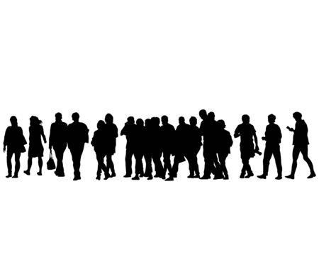 Menschenmassen auf der Straße auf weißem Hintergrund