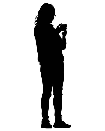 Young woman with smartphone on a white background