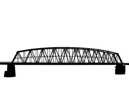 Antiguo puente de ferrocarril sobre un fondo blanco. Ilustración de vector