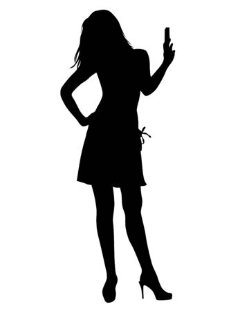 Young woman with phone on a white background Ilustracja