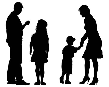 Parents with little child on white background