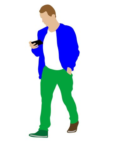 Man with smartphone on white background Ilustrace