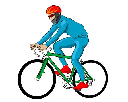 Young man in sportswear rides a bicycle on a white background