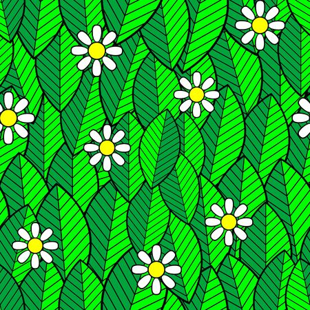 Seamless pattern of white daisies on green leaves