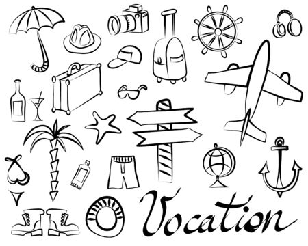 Schematic drawings of things for recreation and tourism on a white background