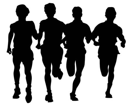Sports boys run a marathon. Isolated figures of athletes on a white background