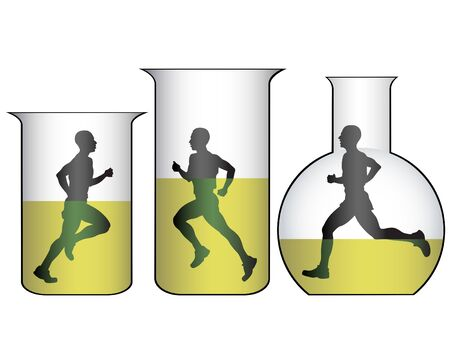 Running men in medical test tubes and flasks. Figure on doping in sports Illustration