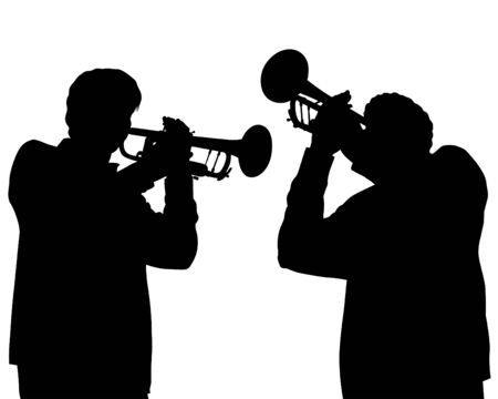 Two trumpeters play at a concert. Silhouettes of musicians on a white background Ilustração Vetorial