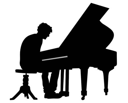 Musiker sitzt am Klavier auf der Bühne. Isolierte Silhouette auf weißem Hintergrund