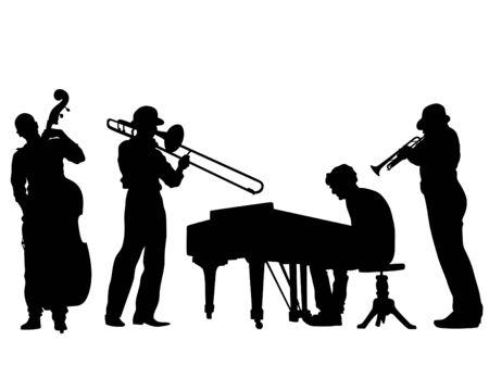 Jazzmusiker mit Instrumenten. Isolierte Silhouetten auf weißem Hintergrund