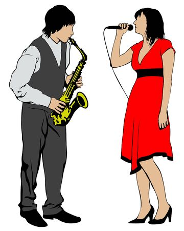 Man with saxophone and woman with microphone at concert. Isolated silhouettes of musicians on white background