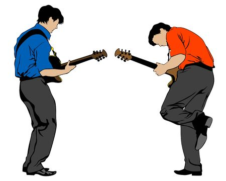 Two guitarists play at a concert. Silhouettes of musicians on a white background