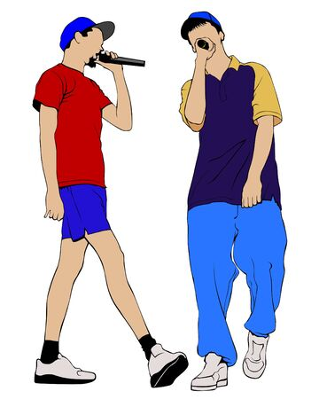 Hip hop artists in trendy colorful clothes. Isolated silhouettes of people on a white background