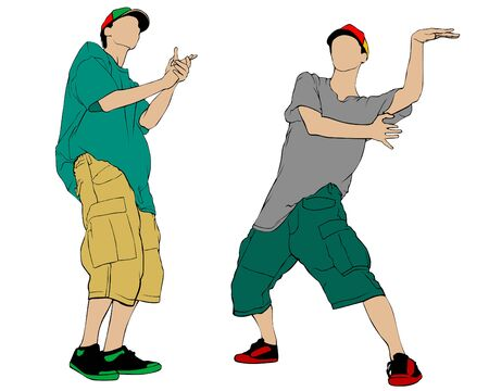 Hip hop artists whit microphone in trendy colorful clothes. Isolated silhouettes of people on white background