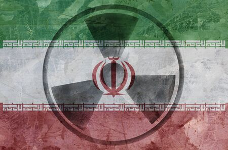 Iranian flag and radiation sign. Middle East Conflict image Stock Photo